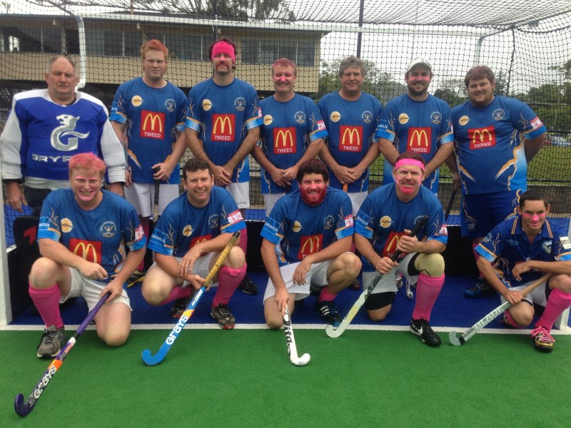 Murwillumbah Hockey Division 3 Men Team supporting Pink Sports Day
